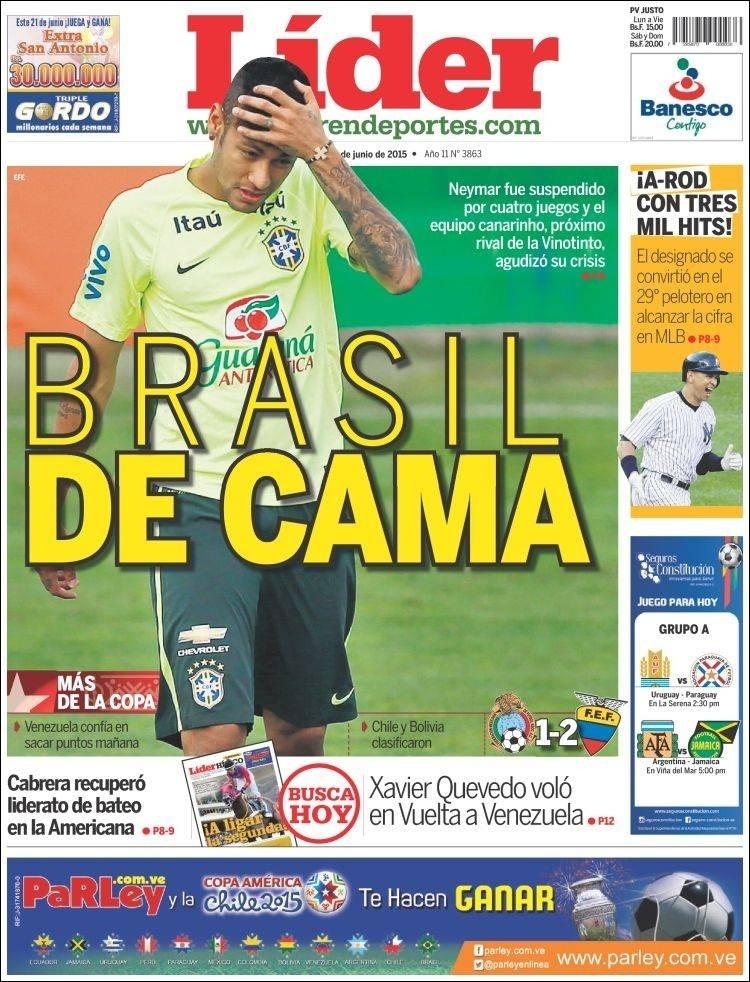 Jornal venezuelano Líder do dia 20.06.2015 noticia a suspensão de Neymar na Copa América