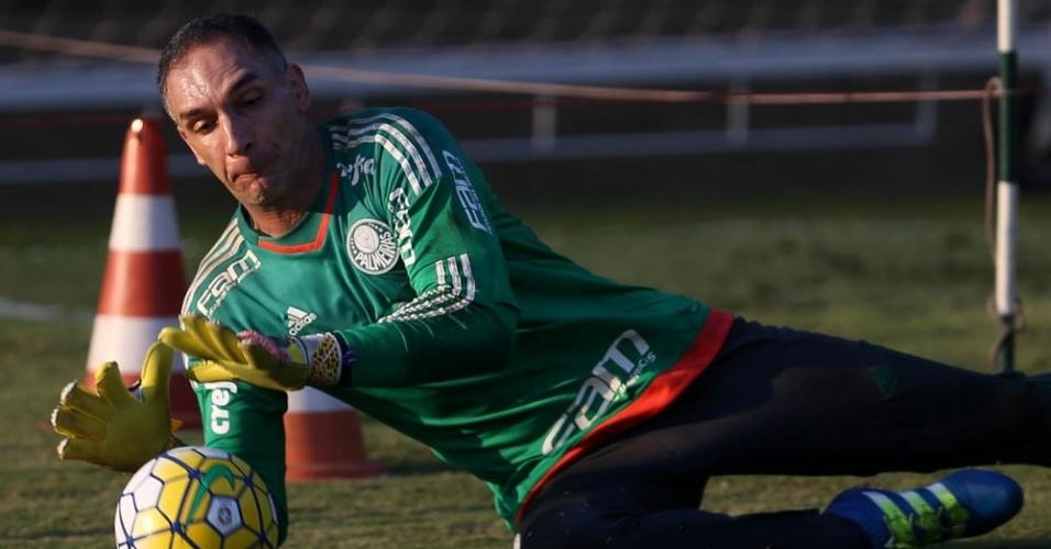 Fernando Prass em ação no treino do Palmeiras realizado na Academia de Futebol