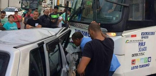 Ônibus do Figueirense sofreu acidente na parte continental de Florianópolis