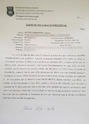 Segundo Inter de Lages, goleiro Neto Volpi recebeu oferta de R$ 15 mil para sofrer dois gols contra o Joinville; clube suspeita de apostadores
