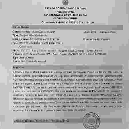 Registro de Ocorrência do zagueiro Miranda, do Vasco, na delegacia de Flores da Cunha (RS) - Divulgação  - Divulgação