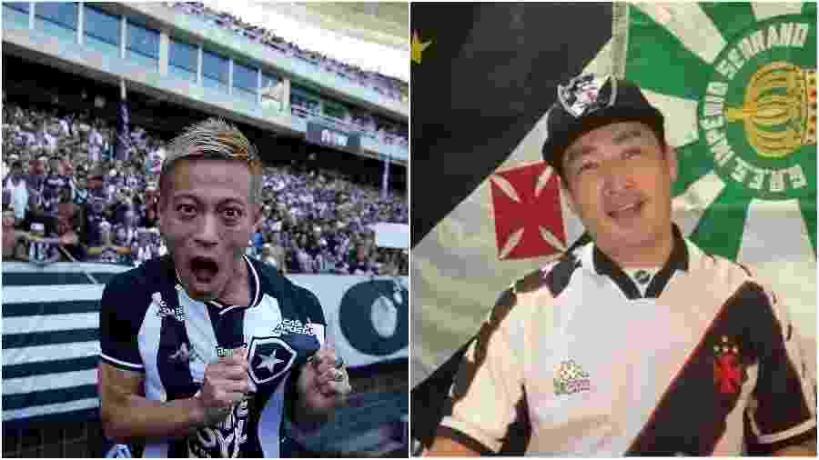 Honda, meia japonês do Botafogo, e Keita Brasil, torcedor japonês do Vasco - Fotos de Vitor Silva/Botafogo e Arquivo Pessoal