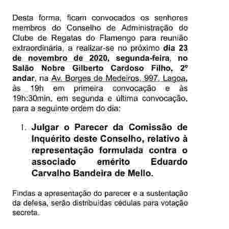 Conselho do Flamengo julga parecer de representação contra Bandeira de Mello no dia 23 de novembro - Reprodução - Reprodução