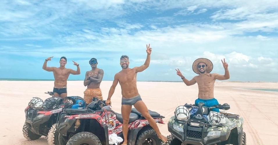 Após título com o Flamengo, Éverton Ribeiro, Vitinho e Diego Ribas curtem férias no Ceará