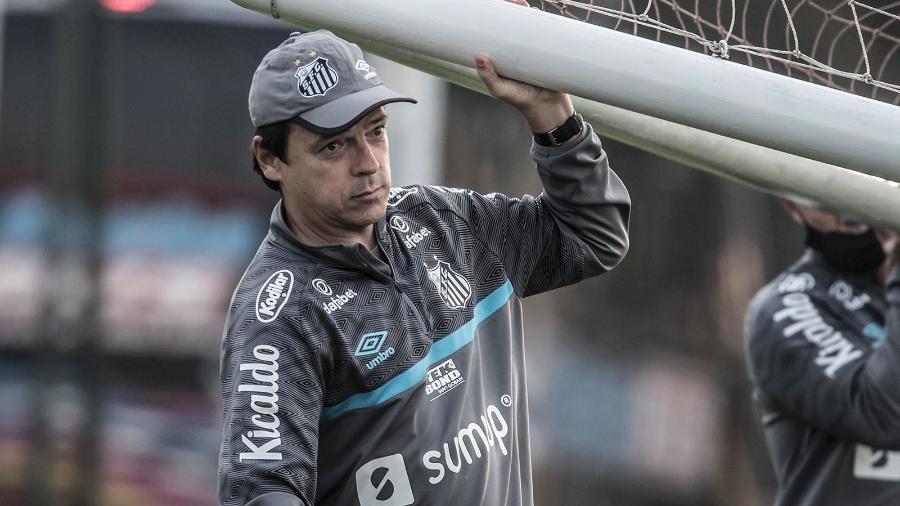 Fernando Diniz carrega trave durante treino do Santos na Argentina - Ivan Storti/Santos FC