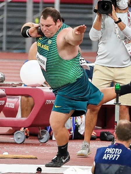Brasileiro Darlan Romani no arremesso de peso no Atletismo nos Jogos Olímpicos de Tóquio - Gaspar Nóbrega/COB