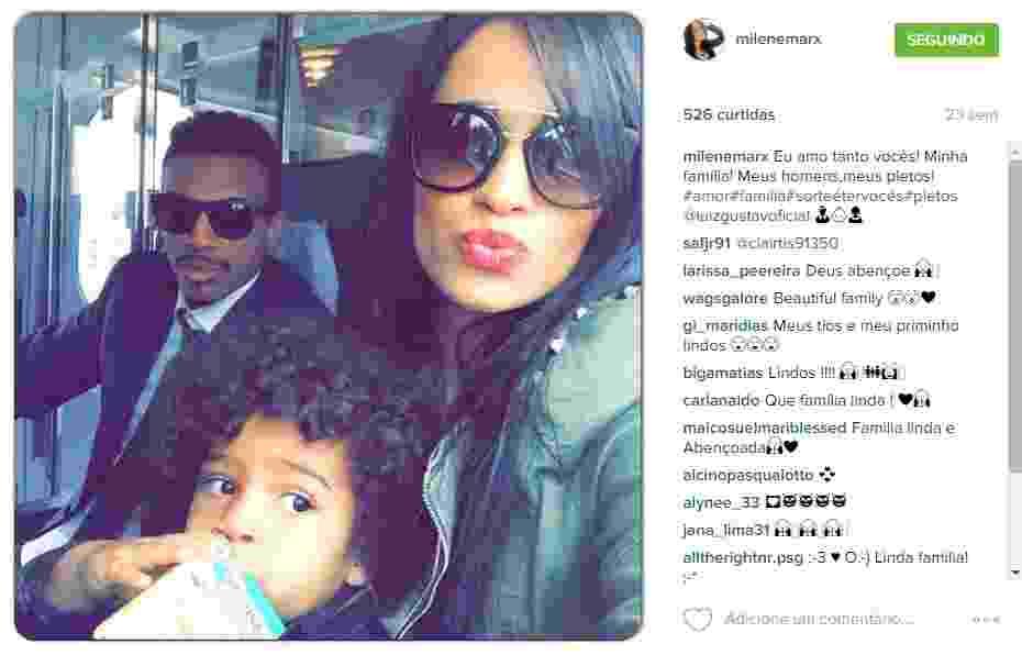 Luiz Gustavo com a mulher, Milene Marx, e o filho do casal - Reprodução/Instagram