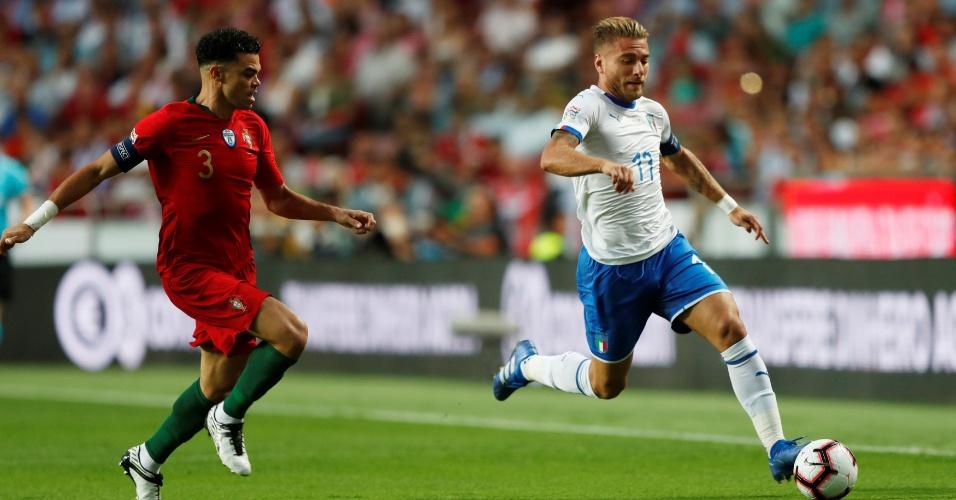 Immobile, durante partida entre Itália e Portugal