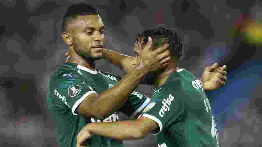 Borja comemora gol marcado por Scarpa na estreia do Palmeiras na Libertadores - Cesar Greco/Ag. Palmeiras/Divulgação