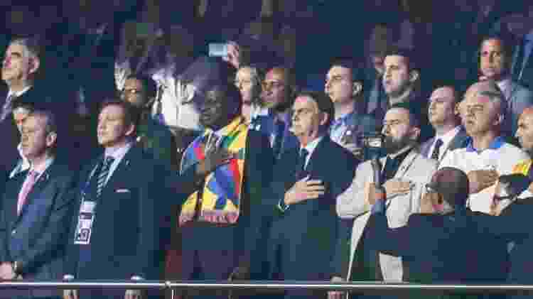 Presidente Jair Bolsonaro (centro) assistiu ao jogo em área vip e não foi ao vestiário da seleção brasileira - Lucas Lima/UOL