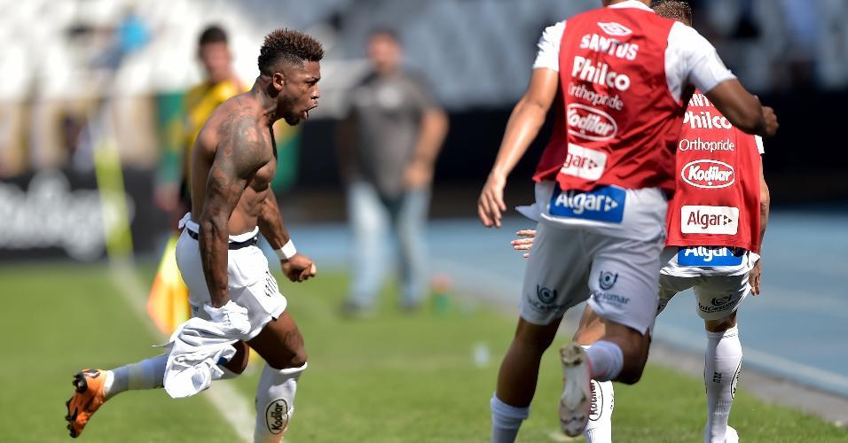 Marinho comemora gol do Santos contra o Botafogo