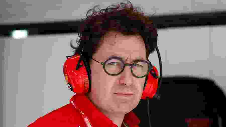 Mattia Binotto, chefe da Ferrari, em ação no GP da Rússia - Maxim Shemetov/Reuters