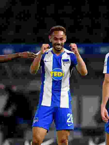 Brasileiro Matheus Cunha comemora gol na vitória do Hertha Berlin sobre o Union Berlin - Stuart Franklin/Getty Images