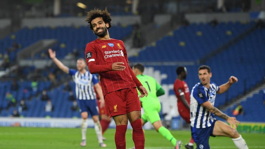 Salah lamenta lance durante partida pelo Liverpool - Daniel Leal Olivas/Pool via REUTERS