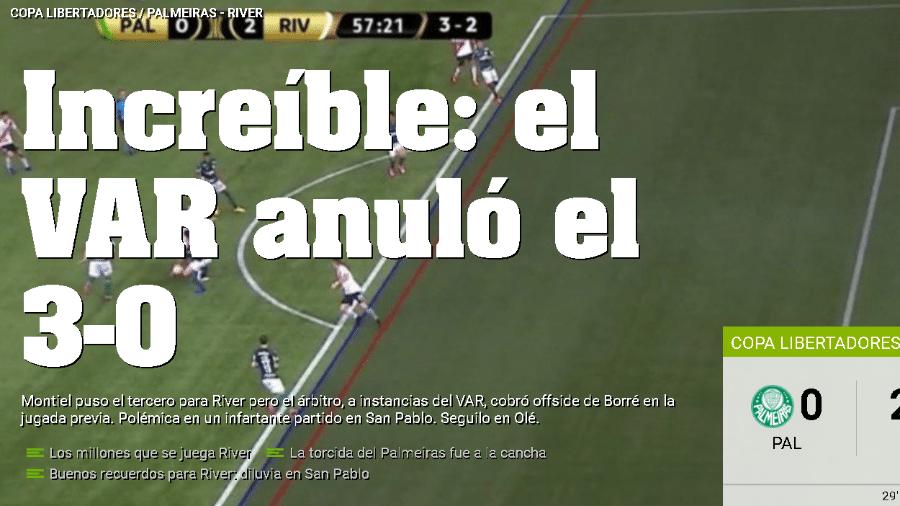 """""""Incrível"""", diz Olé sobre anulação de gol do River Plate - Reprodução"""