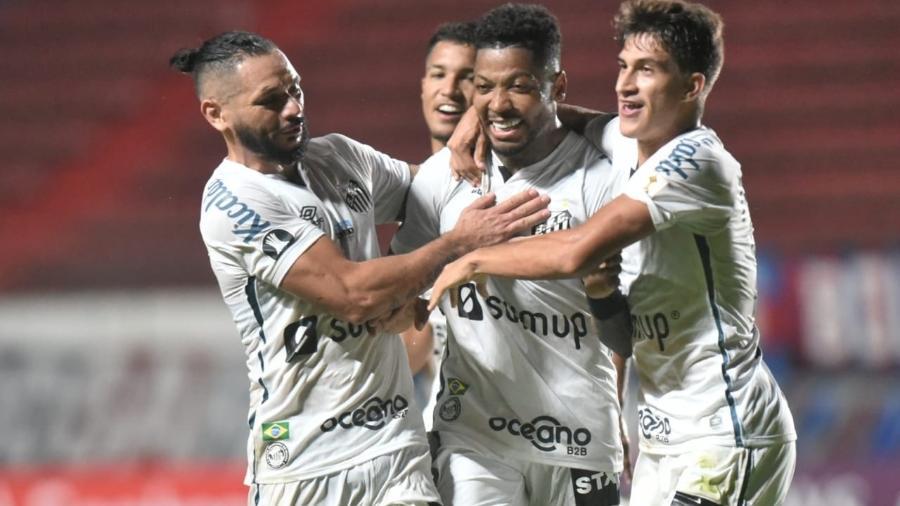 Marinho comemora gol do Santos contra o San Lorenzo, pela Libertadores - Divulgação / Santos F.C.