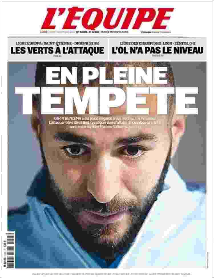 """L'Équipe (Paris, França): """"Em plena tempestade"""" - Reprodução"""