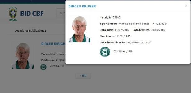 Dirceu foi registrado pelo Coritiba e teve seu nome publicado no BID nesta quarta