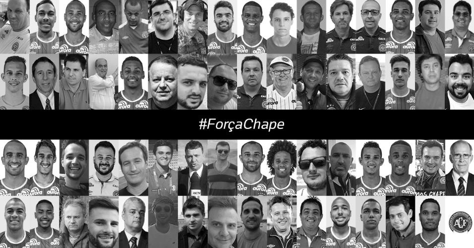 Montagem com as vítimas do voo da Chapecoense