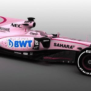 Force India com sua nova pintura na cor rosa - Divulgação