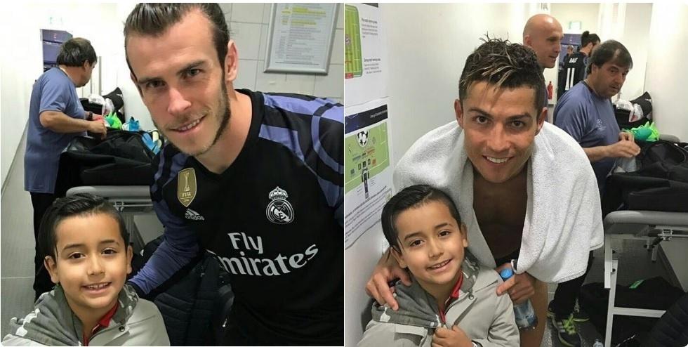 O filho de Vidal tieta Bale e Cristiano Ronaldo depois do jogo pela Liga dos Campeões