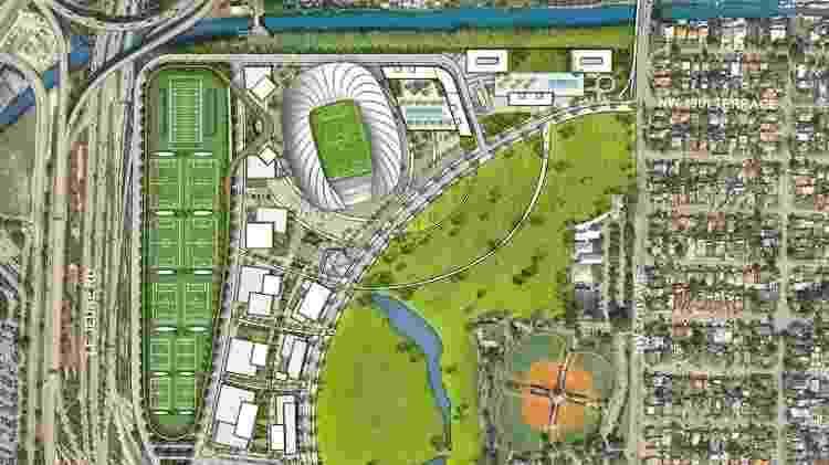 Mapa das futuras instalações do Freedom Park, casa do Inter Miami - Divulgação/Inter Miami