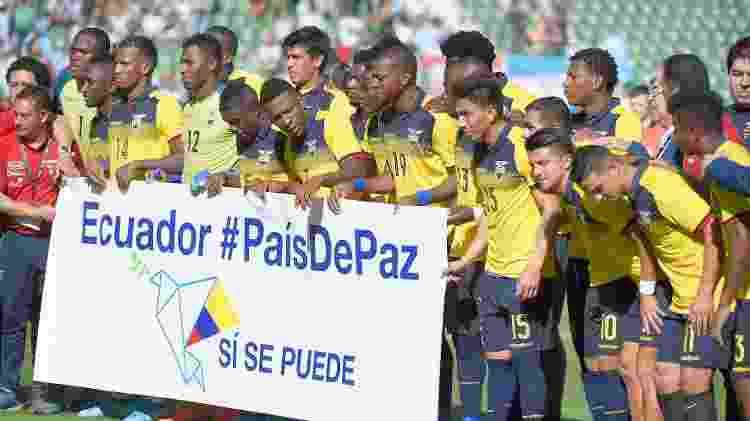 Faixa jogadores Equador - Jose Jordan/AFP - Jose Jordan/AFP