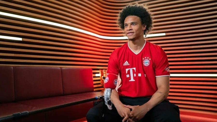 Leroy Sané, durante apresentação ao Bayern de Munique - Divulgação