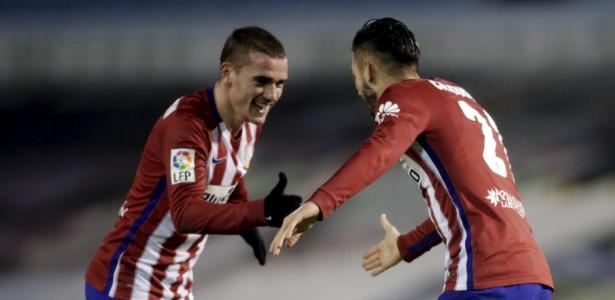 Griezmann e Carrasco em ação pelo Atlético de Madri