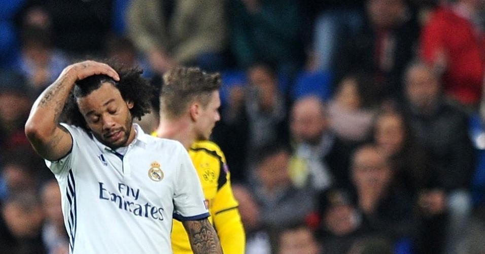 Marcelo, do Real Madrid, lamenta gol do Dortmund no empate em 2 a 2 pela Liga dos Campeões