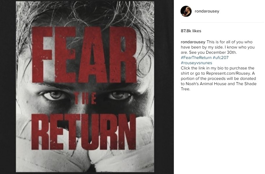 Ronda Rousey manda mensagem aos fãs no Instagram