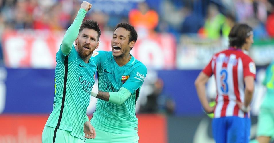Messi e Neymar comemoram gol da vitória sobre o Atlético de Madri