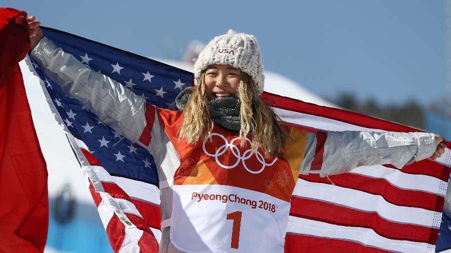 A americana Chloe Kim ganhou a medalha de ouro no snowboard halfpipe - Clive Rose/Getty Images