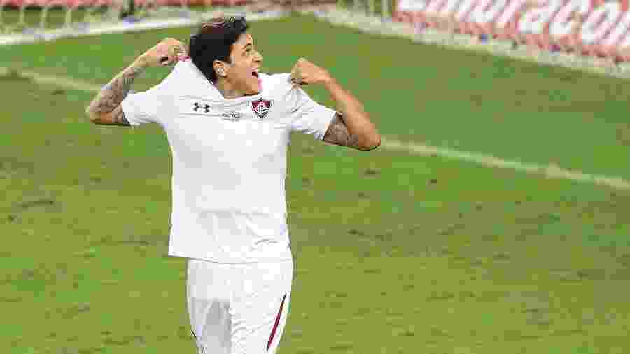 Pedro comemora seu gol na vitória do Fluminense sobre o Grêmio por 5 a 4 - Pedro H. Tesch/AGIF