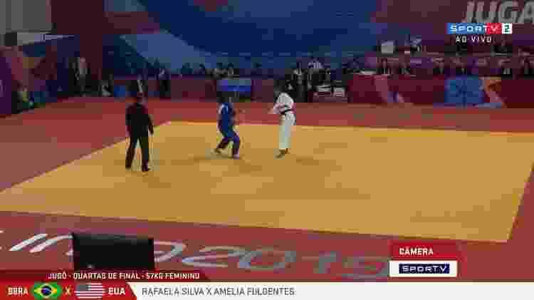Preliminares do judô na sexta-feira: lutas de Rafaela Silva foram mostradas via mochilink - Reprodução - Reprodução