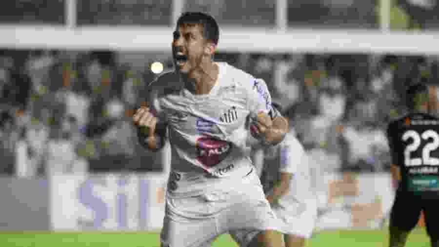 Gustavo Henrique comemora gol da vitória do Santos sobre o Ceará na Vila Belmiro - Fernanda Luz/AGIF