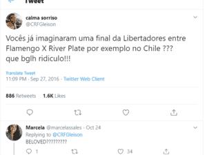 Tuite de Flamenguista sobre Libertadores no Chile - Reproduçao twitter @CRFGleison - Reproduçao twitter @CRFGleison
