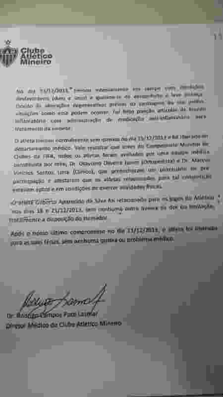 Segunda página de laudo médico sobre Gilberto Silva - Divulgação