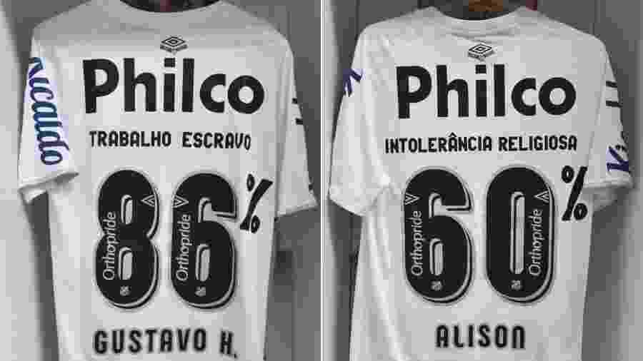 Santos protesta contra o racismo em uniforme para jogo contra o São Paulo - Reprodução/Twitter/SantosFC