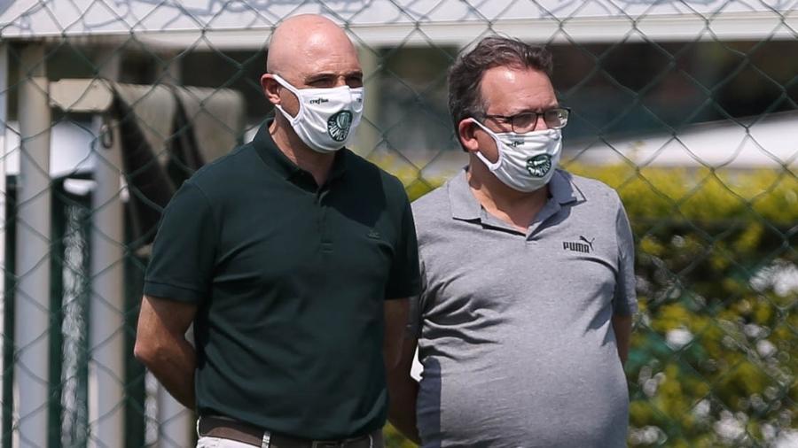Maurício Galiotte e Paulo Buosi, dirigentes do Palmeiras - Cesar Greco/Ag. Palmeiras/Divulgação