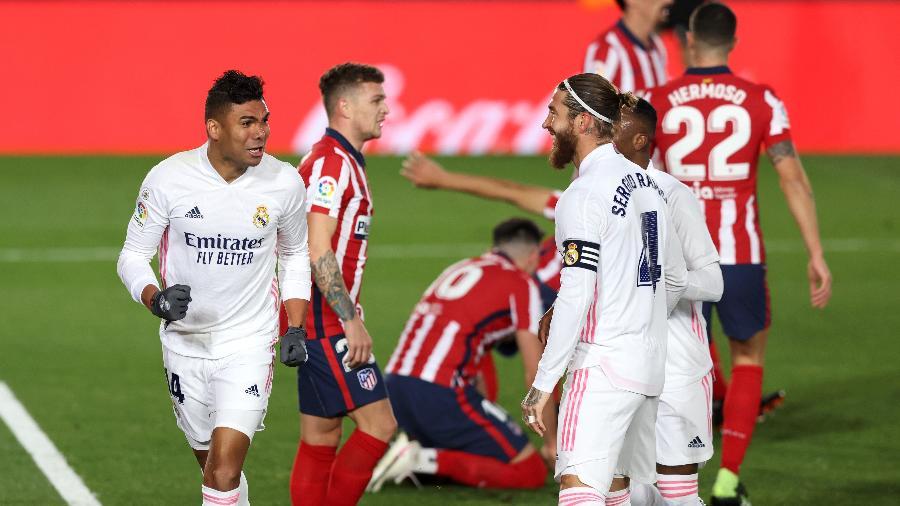 Casemiro comemora gol do Real Madrid contra o Atlético de Madri - Angel Martinez/Getty Images