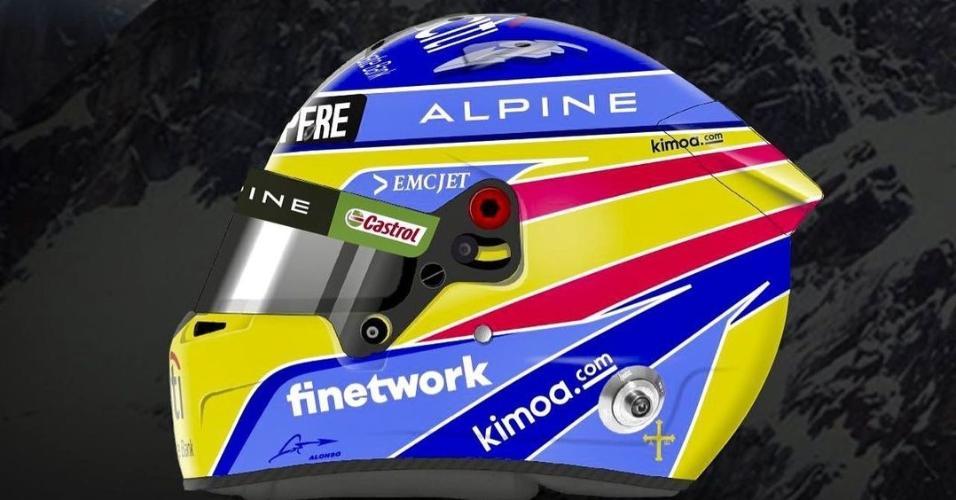 Alonso mostra detalhes de seu capacete para 2021