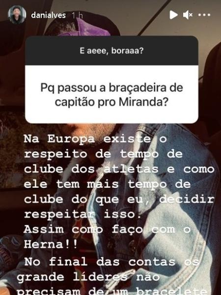 Daniel Alves conversou com seus seguidores na noite de sábado - Reprodução