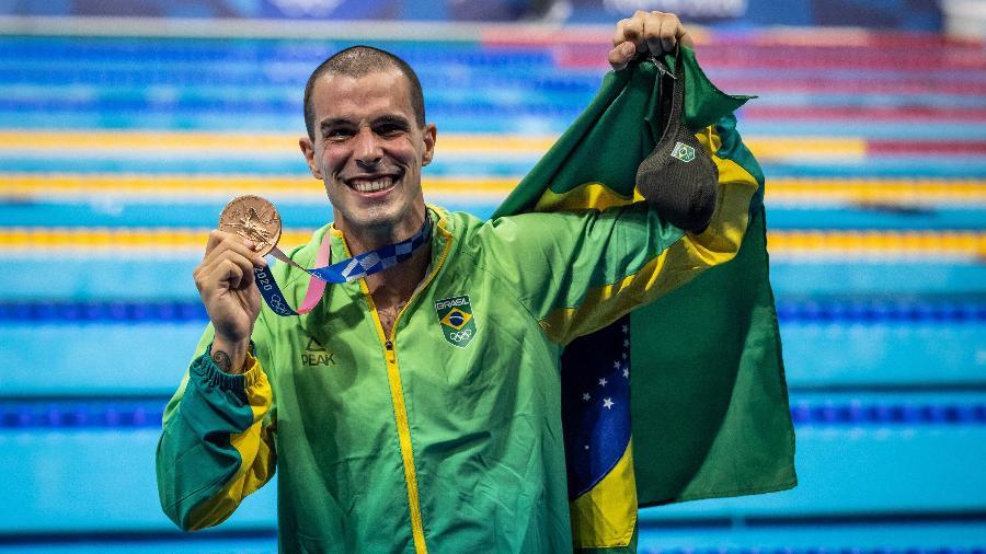 01.08.2021 - Jogos Olímpicos Tóquio 2020 - Final dos 50m livre de natação masculino. Na foto, Bruno Fratus, medalhista de bronze - Jonne Roriz/COB