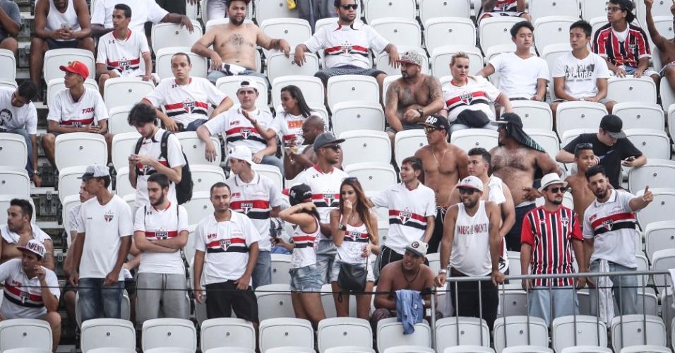 Imagem da torcida do São Paulo, que compareceu na Arena para o clássico contra o Corinthians, pelo Paulistão