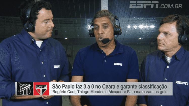 Rogerio Vaughan, Silas e Mauro Cezar Pereira na transmissão da ESPN de Ceará 0x3 São Paulo, na Copa do Brasil de 2015 - Reprodução
