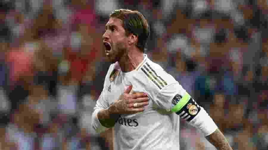 Sergio Ramos comemora gol do Real Madrid sobre o Club Brugge  - REUTERS/Jon Nazca