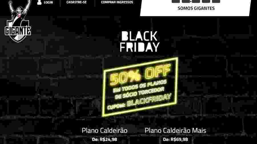 """Vasco fez """"black friday"""" em seu programa de sócios e já teve mais de dez mil associações em apenas dois dias de campanha - Reprodução / Site Gigante"""