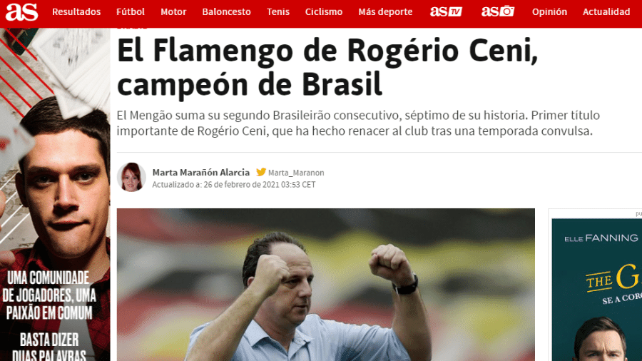 Jornal As, da Espanha, publicou que o Flamengo foi hepta campeão brasileiro - Reprodução/As