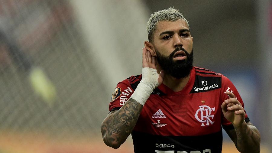 Gabigol comemora gol marcado pelo Flamengo contra o Fluminense -  Thiago Ribeiro/AGIF
